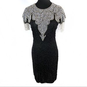 Gorgeous beaded 100% silk cocktail dress